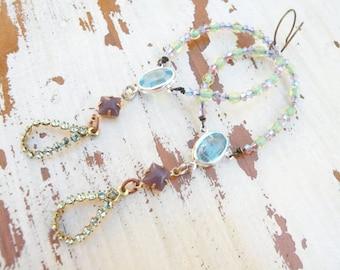 vintage assemblage earrings crystal jewel teardrops