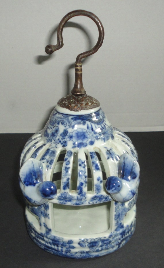 Vintage Asian Ceramic Bird Cage With 2 Birds Cobalt Blue And