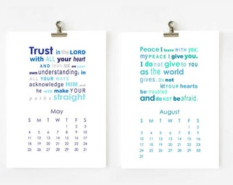 2016 Bible Verses Calendar printable 5x7 Digital