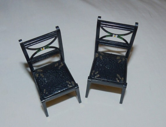 Rare RENWAL Pennsylvania Dutch Hand Painted Miniature Doll House Furniture CHAIRS