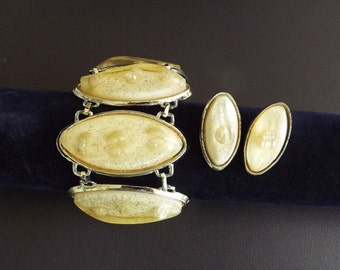 Vintage Bracelet and Earrings Jewelry Set Yellow Lucite Confetti Chunky Costume Jewelery