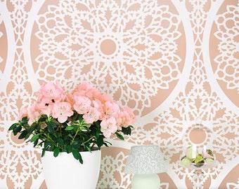 Charlotte Allover Stencil Pattern - reusable stencil patterns for walls just like wallpaper - DIY decor