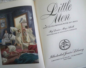 """Vintage Book Fiction Classic  Illustrated  """"Little Men"""" by Louisa May Alcott"""