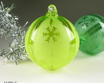 Blown Glass Christmas Ornament Signature Series Ice Lemon Lime Snowflake Retro Stripe Etch