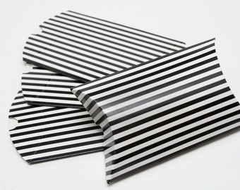 Heavyweight Chipboard Small Black Striped Pillow Boxes - set of 12 - Great for gifts or favors - 3 1/2 x 3 x 1 Inches