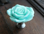 Rose Drawer Knobs - Cabinet Knobs in Light Blue (RFK14)