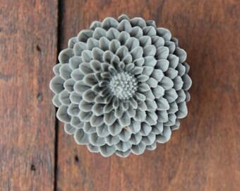 Flower Drawer knobs - Cabinet Knobs Mum in Dark Grey LARGE, more COLORS (RFK12)
