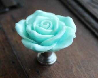 Rose Drawer Knobs - Cabinet Knobs in Light Blue (RFK14)