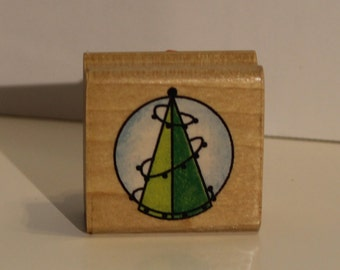 Christmas Tree with Lights Rubber Stamp