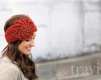 CROCHET PATTERN PDF, Crocheted spiral flower headband / earwarmer / headwrap- CaN Sell Finished pieces, instant download, yarntwisted