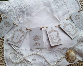 I Do Wedding Mini Banner Anniversary Decoration Bunting Garland Photo Prop Pale Gray