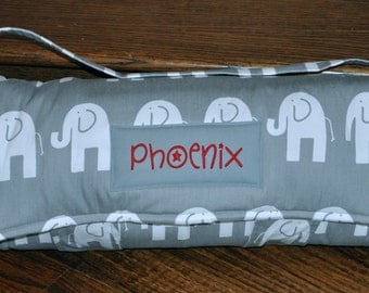 Nap Mat - Monogrammed Ele Elephant in Storm Grey Nap Mat with a Minky Dot Blanket - You Choose the Blanket Color