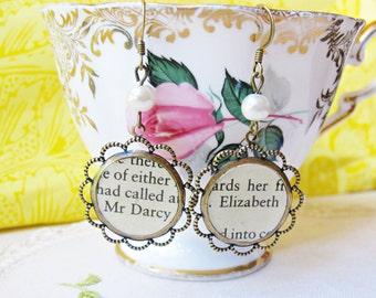 Pride and Prejudice earrings Jane Austen Mr Darcy Elizabeth Bennet Drop Dangle Antiqued Brass Gold Vintage Book Page Text Literature For Her