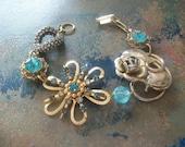 Vintage Earring Charm Bracelet Vintage Brooch Assemblage Bracelet Bridal Wedding Bracelet - VintageEnvy