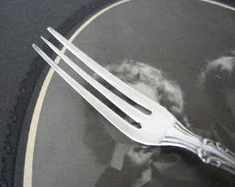 Antique Strawberry Fork Silverplate, Berlin 1889 by American Silver Co., Delicate Fruit Fork