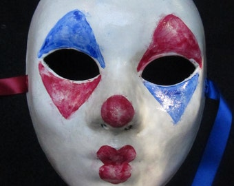 Pierrot Mask, full faced paper mache french inspired clown mask