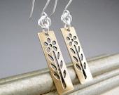 Mixed Metal Earrings, Gold Flower Earrings, Gold and Silver Earrings, Gold Dangle Earrings