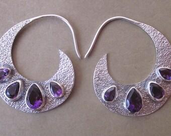 Sterling Silver Amethyst gemstones earrings / Bali handmade jewelry /  silver 925 / 1.50 inch