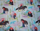 Disney Princess Merida Brave Fairytale Fabric a little over 1 yard OOP Out of Print Hard To Find RARE