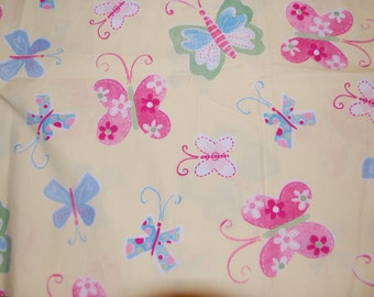Hard To Find Boutique Pottery Barn Sophie Yellow Rainbow Butterfly Fabric 1 yard Euro Kawaii