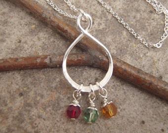 Mother's birthstone necklace - Dainty birthstone pendant - Custom birthstone pendant - Mother's day gift