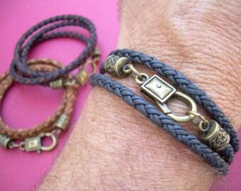 Premium Triple Wrap Leather Bracelet, Mens Bracelet, Womens Bracelet, Mens Jewelry, Fathers Day