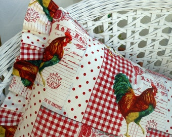 French Provincial Country Rooster French Lettering Red Polkadots and Plaid