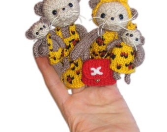 LEOPARDS Family Finger Puppets Pdf Email Knit PATTERN