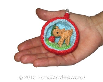 Christmas Diorama Ball DEER Ornament Pdf Email Knit PATTERN