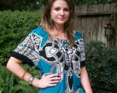 Mexican style .. Dress .. turquoise white black xl 18 w plus size