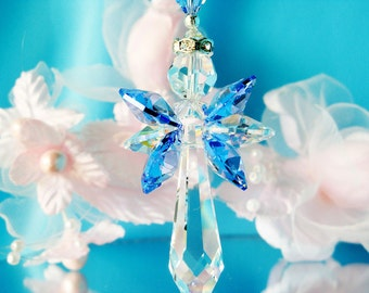Swarovski Crystal Angel Necklace Sapphire Blue