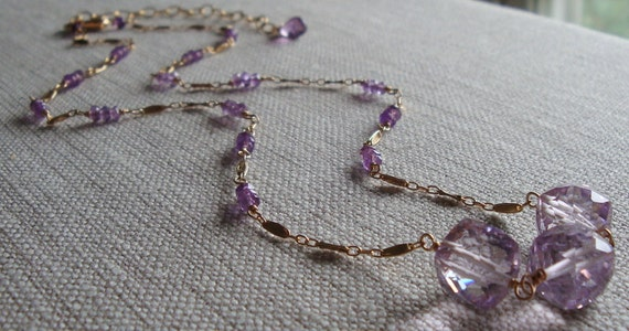 Amethyst Necklace Triple Cube Necklace Gemstone Necklace Gold Necklace Station Necklace
