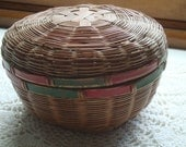 Darling Pudgy Sewing Basket - Red and Green Trim