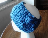 Crocheted Earwarmer - Medium Blue Headband - Women's Earwarmer - Flower Headband - Slate Blue Earwarmer  - Teen Girl Accessory