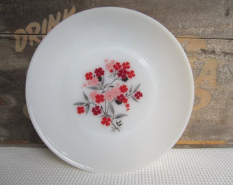 Vintage Primrose Fire King Milk Glass Dinner Plate Pink Red Flowers on White Milk Glass