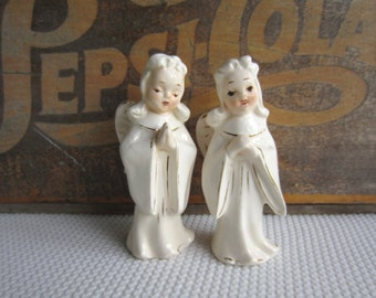 Vintage Pair Angels White with Gold Made in Japan