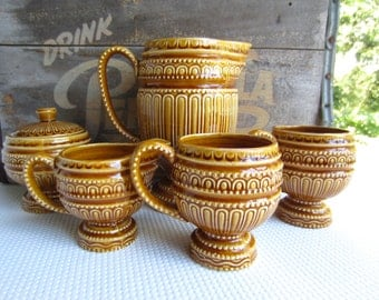 Vintage Mid Century Amber Coffee Tea Set Royal Sealy Japan