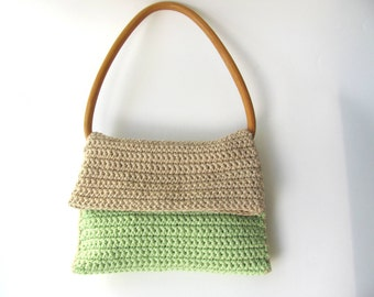 PuRse-Light brown  green- knitted purse-- Cotton--Vintage wooden handles-for women--Retro-Chrsitmas gift