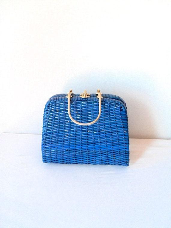 Reserved Stunning Vintage Blue Wicker Purse