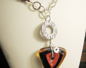 Lampwork Necklace Silver Chain Beaded Autumn Jewelry Black Topaz Coral 'Fall Colors'