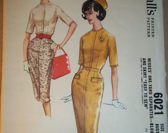 """Misses skirt blouse sewing pattern  - ONE YARD - vintage sewing pattern - Skirt Blouse - McCalls 6021 - size 16 bust 36"""" - printed 1961"""
