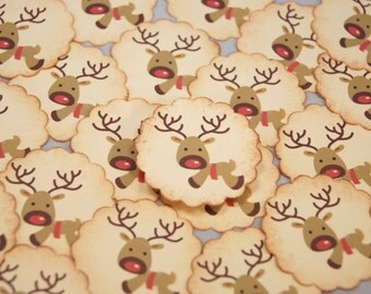 Christmas Stickers Red Nosed Reindeer Envelope Seals SES206