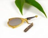 Mirror Comb Pin Brass Gold Enamel Silver Vintage - W2846