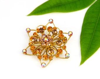 Amber Rhinestone Pin Star Topaz Yellow Gold AB Aurora Borealis Snowflake Flower Vintage - W2810