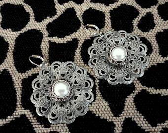 White Pearl Filigree Antique Silver Pierced Earrings