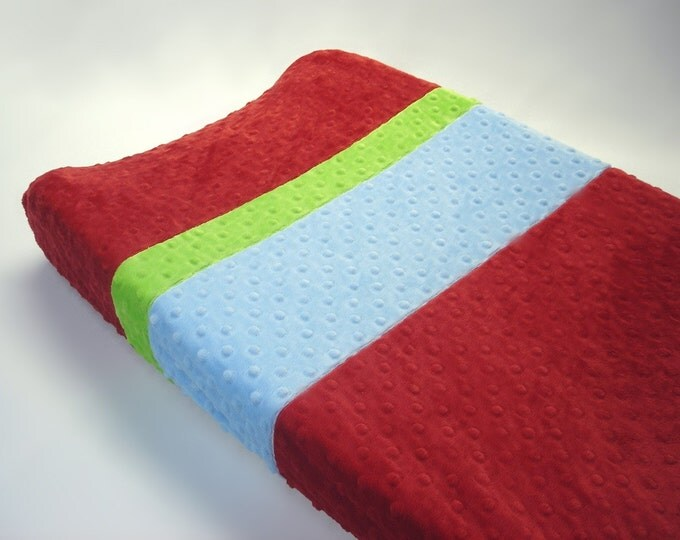 Crimson Red Changing Pad Cover with Stripes
