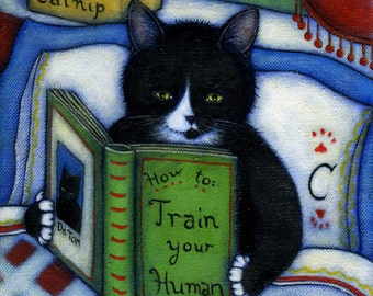 How to Train your Human.  Archival 8.5x11 tuxedo cat print