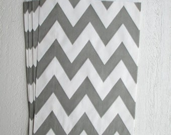 24 Chevron Striped Gray Favor Bags