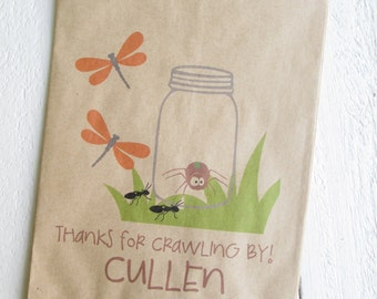 "25 Custom Bug In A Jar Birthday Favor Bags 5""x7.5"""