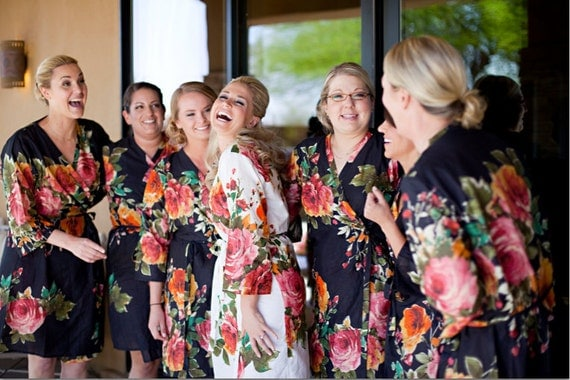 Black Large Floral Blossom Bridesmaids Robes | Kimonos. Wraps. Bridesmaids gifts. Getting ready robes. Bridal shower favors. Dressing gowns